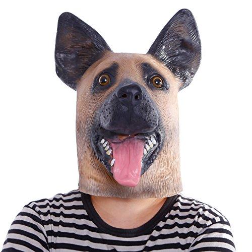 loween Maske Einhorn latex Tiermaske Pferdekopf Pferd Kostüm (Schaeferhund) (Latex Einhorn Maske)