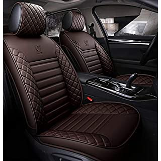 YLG Auto Sitzbezüge, Hochwertig Auto Schonbezüge, Haltbares Leder, Geeignet Für 5-Sitzige Autos, Vier Jahreszeiten Universal,Coffee