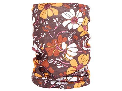 Foulard fazzoletto da collo sciarpa funzionale multiuso scaldacollo tubolare leggero e morbido estate primavera autunno inverno loop anello ragazze colorati stola accessorio moderno lifestyle, Multituch MF-140-173:MF-157 fiore marrone