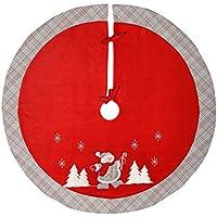 WeRChristmas Dancing Snowman Tartan Design Christmas Tree Skirt Decoration, 107 cm -Red