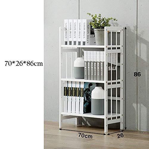 JHUEN Einfaches Bücherregal Weiß Student Bücherregal Boden Massivholz Weiß 3-lagig Regalboden Bücherschrank A ++ (Größe: 70cm) -