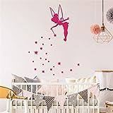 stickers muraux salon amovible Clochette avec étoiles pour chambre d'enfant chambre d'enfants