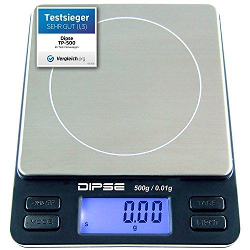 Digitalwaage TP-500 Feinwaage die in 0,01 g Schritten präzise bis 500g / 0,5kg wiegt, Taschenwaage, Feinwaage, Goldwaage mit extra-großer Wiegefläche