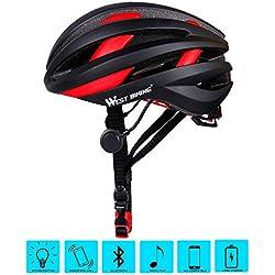 West ciclismo casco de bicicleta para adultos Mujeres Hombres, Bluetooth bicicleta casco de seguridad con piloto trasero, hombre Infantil mujer, negro y rojo