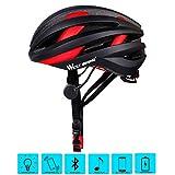 West Radfahren Bike Helm für Erwachsene Frauen Herren, Bluetooth Fahrrad Sicherheit Helm mit Rücklicht, Kinder Herren damen, schwarz / rot