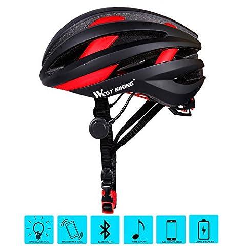 West Biking casque de vélo pour adulte Femme Homme, Bluetooth casque de sécurité de vélo avec arrière, Homme Enfant femme, noir/rouge