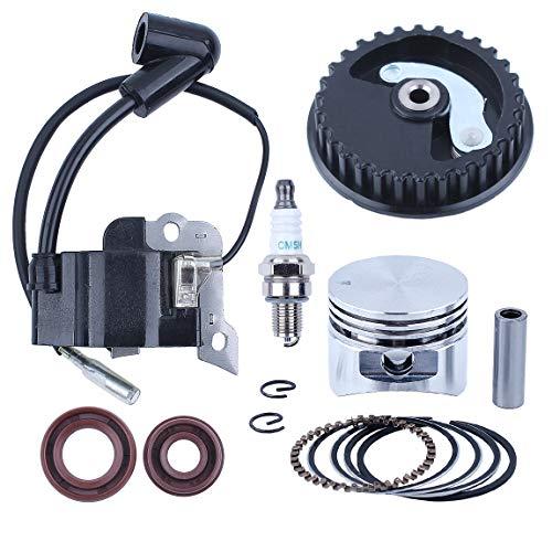 Haishine 35mm Piston Rings Bobina accensione Kit paraolio puleggia Albero a camme Fit Honda GX25 25cc Motore a 4 Tempi Mini Trimmer Decespugliato