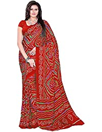 Aaradhya Fashion Women's Crepe Saree With Blouse Piece (Afmoss-0114_Red)