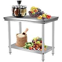 Homgrace Mesa de cocina en acero inoxidable con dos estantes, mesa para la preparación de comida para cocina, 100 x 60 x 80cm