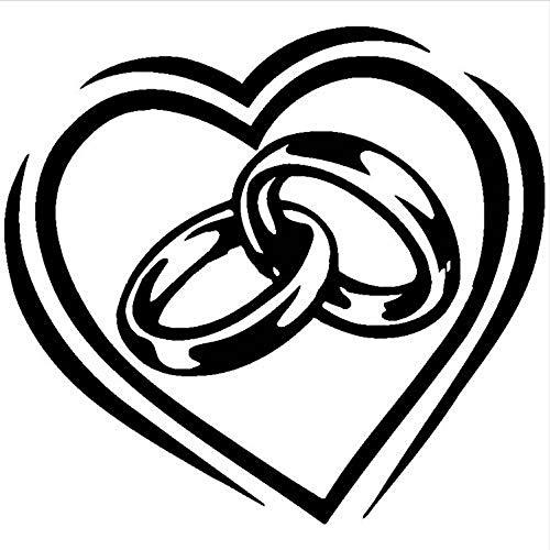 WENYAO Wohnzimmer Wandaufkleber Großherzigen Ring Vinyl Wandaufkleber Engagement Hochzeit Liebe Schlafzimmer Raumdekoration Paar Ring Wandtattoo Wandkunst Aufkleber Dekoration Ay433 57X51Cm (Video-spiel-paar Ringe)