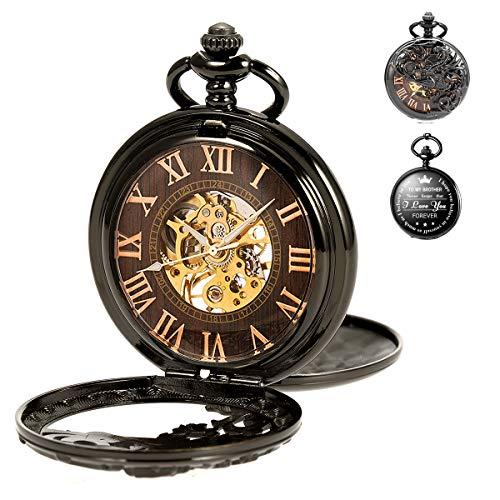 Personalisierte Taschenuhr Gravierte Graviert Herren to Brother zum Bruder mit Kette SIBOSUN Uhr Quarz Geschenk
