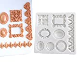 Photo Frame Lace Vintage Pattern Sugarcraft Silicone Fondant Mould for Cake Decorating Cupcake Topper, Sculpting Silicone Sugar Resin Craft DIY Moulds Gum Paste Cake Decorating Fondant Molds