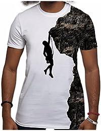 T-shirt Sport Silhouette d'hommes grimpeur de roche Escalade Scrambling