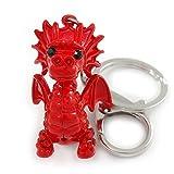 Avalaya Collier Cristal Rouge, Émail Rouge Bébé Dragon Porte-Clés/Bijou de Sac en Métal Argenté–8cm–L...