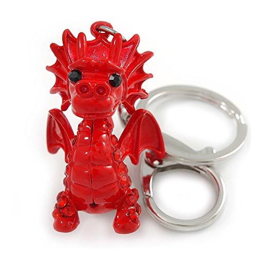 Avalaya - Llavero con Diseño de Dragón y Bolso de Metal esmaltado, Color Rojo, 8 cm de Largo
