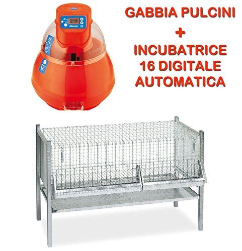 Novital INCUBATRICE COVATUTTO 16L Digitale Automatica Uova Piu\' Gabbia per Pulcini da CM.100 Completa