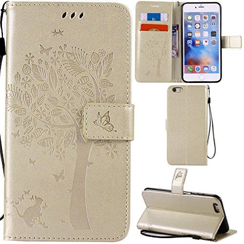 Ooboom® iPhone 5SE Coque Motif Arbre Chat PU Cuir Flip Housse Étui Cover Case Wallet Portefeuille Support avec Porte-cartes pour iPhone 5SE - Or Or