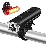 Zukvye LED Fahrradlicht Set, USB Wiederaufladbare LED Fahrradbeleuchtung Set, Fahrradlampe Set inkl, LED Frontlichter und Rücklicht, 2000mAh Akku USB Aufladbare Fahrradlichter