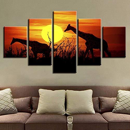 mmwin HD Wohnkultur Leinwand Wohnzimmer Moderne 5 Panel Sonnenuntergang Giraffe Landschaft Gedruckt Bilder Malerei Wandkunst Modulare Poster