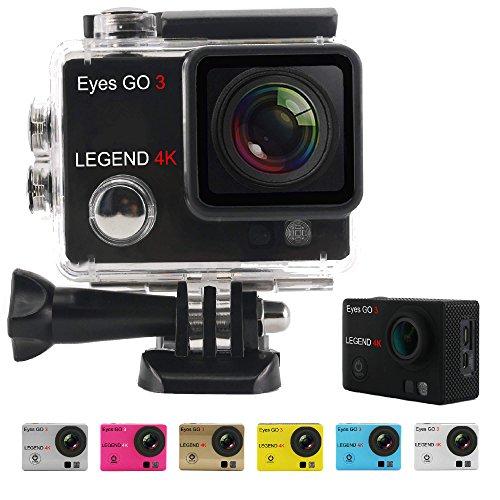 Eyes-GO-3-LEGEND-4K-16MP-33-accessori-inclusi-quale-7-gusci-di-colore-consegnati-Marca-francese-laltissima-definizione-2160p-Videocamera-Sportiva-Action-Cam-Cassa-stagna-30-metri-Schermo-LCD-2-pollici
