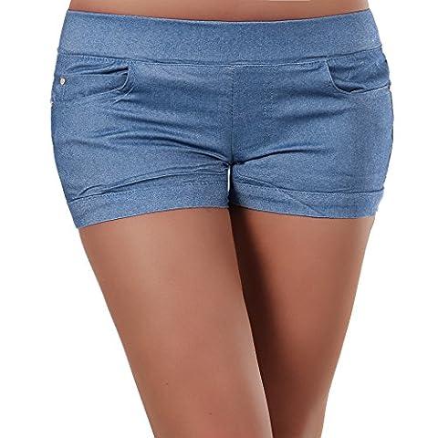 N166 Damen Stoffhose kurze Hose Sommerhose Hüfthose Hot Pants Shorts Panty, Farben:Dunkelblau;Größen:XXL