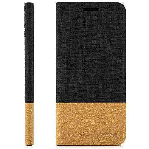Custodia iPhone X Cover + Vetro Temperato Flip Wallet [Zanasta Designs] Case Copertura con Portafoglio - Pieghevole con Porta Carte, Alta Qualità Grigio Nero
