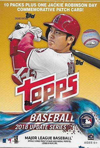 2018 Topps Update Serie Baseball unopen Blaster Box mit 10 Packungen und einer exklusiven Jackie Robinson Day Gedenkkarte und möglichen Rookies Autogrammen und Trikotkarten Dual-sealed Box