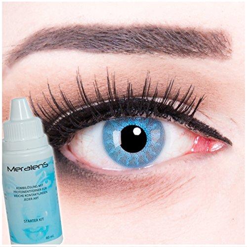 Farbige blaue hellblaue Kontaktlinsen contact lenses Solar Blue Blau 1 Paar perfekt zu Fasching, Karneval und Halloween. Gratis Behälter und 60ml Pflegemittel