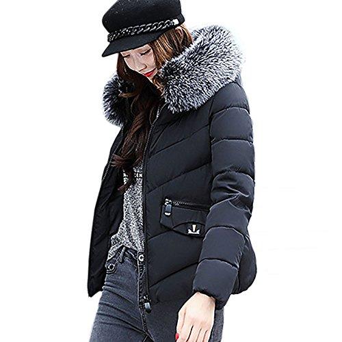 Mäntel Outwear Damen Sunday Patchwork Lässig Dicker Pelzkragen Winter Schlank unten Lammy Jacke (Schwarz, 2XL) (Baumwolle Solide Verdicken)