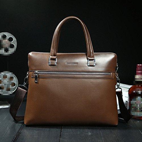 Unisex Upmarket Strukturierter Trendy Business Casual Handcarry Tasche Einzelner Schulterbeutel Multicolor Brown