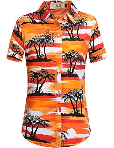 SSLR-Camisa-Mujer-Blusa-Hawaiana-Aloha-de-Coconut-Palmera-Manga-Corta-Large-Naranja