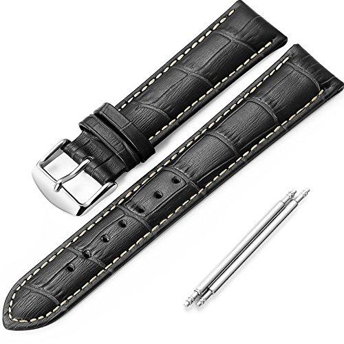 iStrap 22mm Rindleder Krokodilleder-Optik Uhrenband Uhrband mit Edelstahl Dornschließe für Mann Shwarz