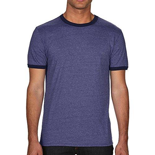 Anvil Leichtes Ringer T-Shirt für Herren/Heather Blue/Navy, M
