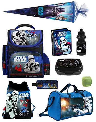 Familando Star Wars Classic Schulranzen-Set 10tlg. Sporttasche Schultüte 85cm Federmappe Regenschutz