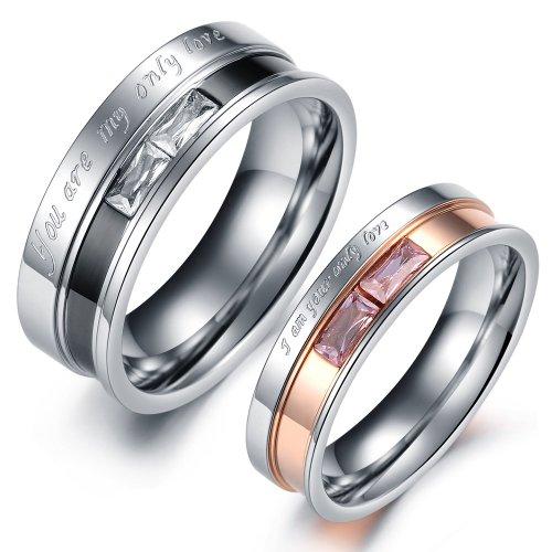 ) You Are My only Love Edelstahl Ring Bandring Zirkonia Silber Schwarz Rose Gold Quadrat Valentinstag Lieben Paar Verlobung Engagement Hochzeit Eheringe Herren,Damen ()