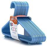 HANGERWORLD 30cm-Kunststoff-Kleiderbügel mit Hosen/Rock-Leiste für Baby- und Kleinkind-Kleidung, 36Stück, blau