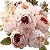 #8: Hyperboles Fake Flowers Vintage Artificial Peony Silk Flowers Bouquet Wedding Home Decoration, Pack of 1 (Dark Pink)