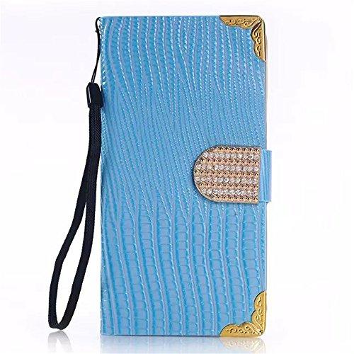 Mo-Beauty® S6 Samsung Galaxy-Custodia in pelle, con protezione per lo schermo in vetro temperato], Women's Fashion-Borsa-Custodia Diamond in pelle a portafoglio con chiusura a linguetta e funzione leg blu