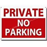 PRIVATE NO PARKING quality metal sign (8 inches x 12 inches)