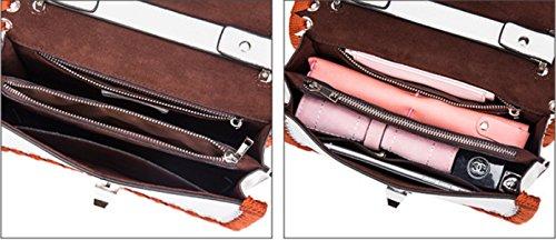 Sacchetto Di Cuoio Genuino Donne Tessuto Cintura Hit A Colori Singola Spalla Crossbody Bag. White