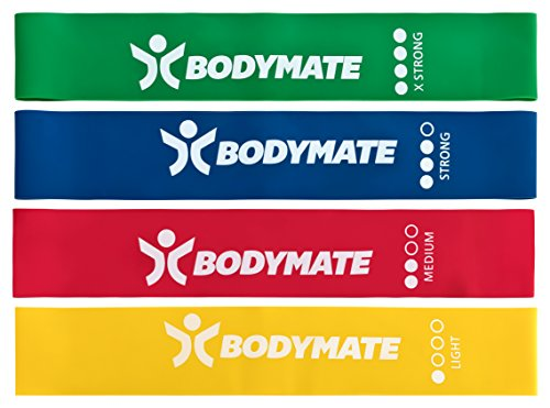 BODYMATE-set-of-4-Fitness-Bands-in-a-carry-case--4-levels-of-Resistance--Fitness-Band-60cm-X-5cm--Made-from-Natural-Latex--Resistance-Loop-Bands-for-Cross-Fit-Core-and-Functional-Training-Pilates-Yoga