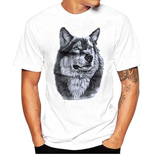 Herren T Shirts, Kingwo Männer Tierdruck T Shirt Hemd Kurzarm T Shirt Bluse Männer Weiß T Shirt Bluse (4XL, E) (Modal V-ausschnitt Ärmel Tee Kurze)