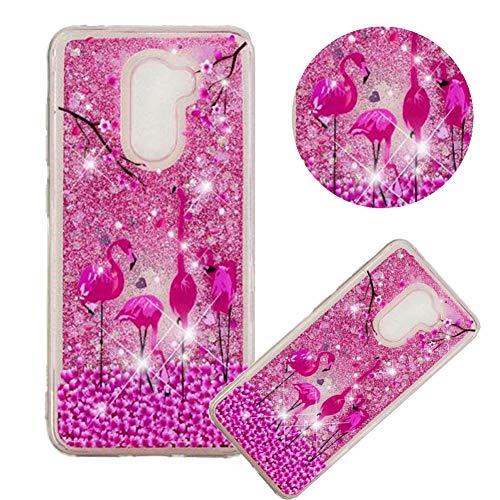 Glitzer Hülle für Samsung Galaxy S9 Plus,Flüssigkeit Silikon HandyHülle für Galaxy S9 Plus,Moiky Luxuriös Mode Flamingo Blume Muster Liebe Herzen Treibsand Diamant Weich Gummi Hülle - Flüssigkeit Blumen