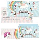 PAPERHELDEN 12 Einhorn Einladungskarten mit 12 Umschlägen zum Kindergeburtstag | Unicorn Geburtstags-Einladungen zur Mädchen Party für Kinder