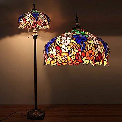WI Home Stehleuchte, bodenstehende Lesung, Continental Advanced Glasmalerei Tiffany Lampen Cafe Wohnzimmer Stehleuchte Schlafzimmerlampe Retro Kreative Augenschutz Vertikale Tischlampe