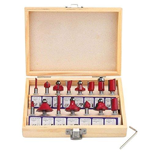 Schnitzwerkzeug Set, 15 Stück Holzschnitzwerkzeug Schnitz Oberfräse handgefertigt Stemmeisen Werkzeuge Holz Cutter Mühle Carpenter Carving Trennwerkzeug Gesetzt Diam Molding Milling (Kohlenstoffstahl, 15PCS) -