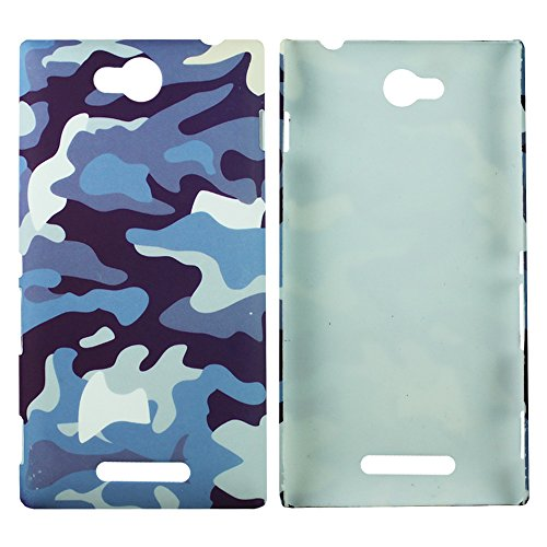 Heartly Army Style Retro Color Armor Hybrid Hard Bumper Back Case Cover For Sony Xperia C C2305 S39H - Navy Blue  available at amazon for Rs.149