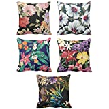 YaYa cafe Printed Tropical Hawaiian Floral Flower Throw Cushions Pillow Covers 20x20 inches for Home Decor Sofa Chair Bedroom Living Room - Set of 5