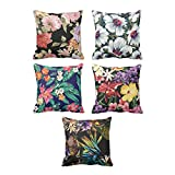 TYYC New Year Gifts for Home Tropical Hawaiian Flowers Floral Pattern Printed Cushion Covers Set of 5 - 20x20 inches
