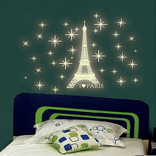 JIJI886 DIY Wandaufkleber,Paris Fluoreszierende Stars Wandgemälde Art Aufkleber Wand Stickers Wandtattoo Decoration für Wohnzimmer Schlafzimmer Büro Küche Kinderzimmer (Grün) - Paris-wand-aufkleber